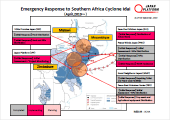 Emergency Response to Southern Africa Cyclone Idai Activities Map