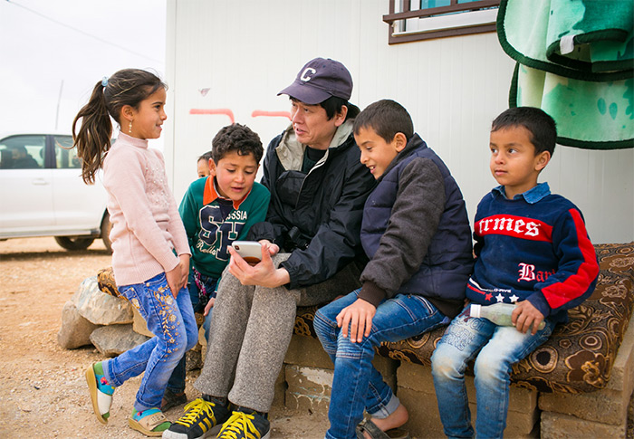 At Zaatari camp, spending time with Abdullah's children after lunch