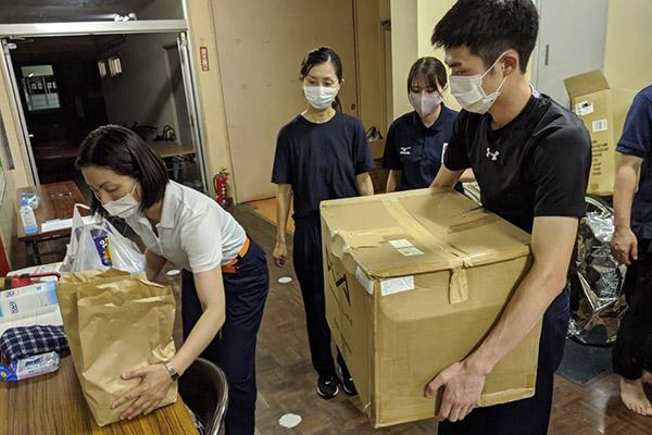 人吉市最大の避難所、人吉スポーツパレス ©PWJ