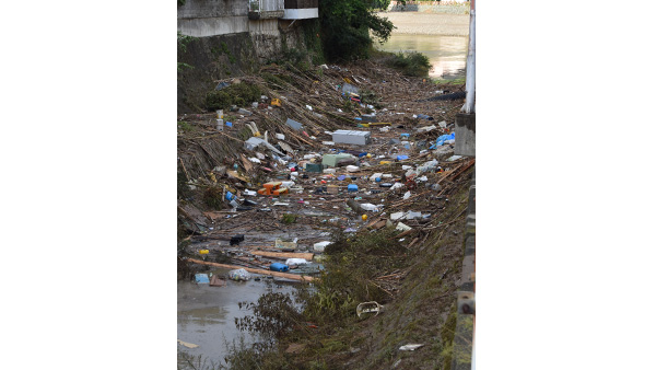 3. Living goods drawn by the floods remain on the road / 9th July, Ehime ©JPF