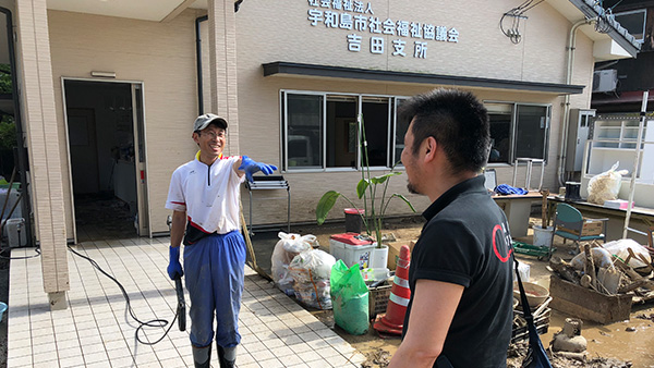 13. The emergency team staff collaborating with Social Welfare Council in Uwajima City / 10 th July ©JPF