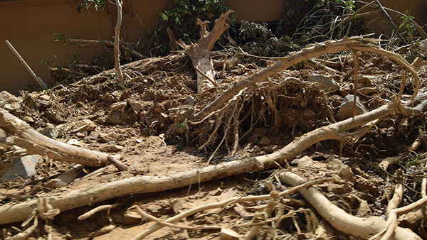 12. A heap of debris fallen by the floods / 10th July ©JPF