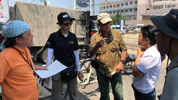 20.JPF emergency response team and Peace Winds Japan are accompanying USAID/OFDA's monitoring the affected areas (In front of Mabi Memorial Hospital)/16th July 2018 ©JPF
