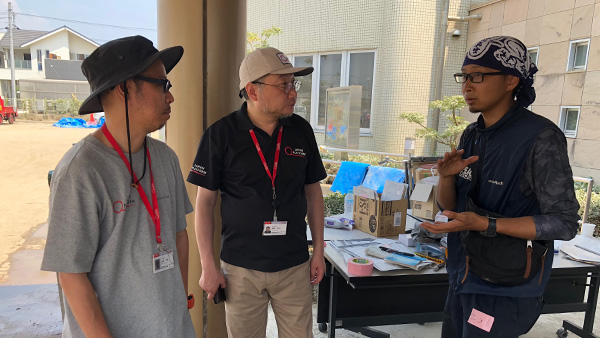 21.Confirming the overwhelming staff shortage for volunteering and management when emergency response teams were surveying at Mabi Volunteer center which is managed by PBV (one of JPF NGO members) founding supported by JPF, Okayama/ 17th July 2018 ©JPF