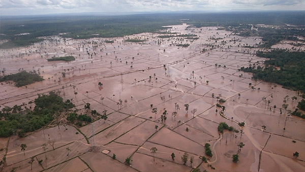 Flooded villages caused by collapsed dam ©GNJP