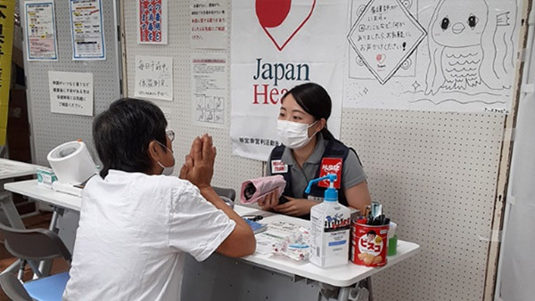 Medical relief at evacuation shelter in Yatsushiro ©JH