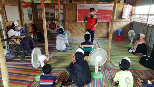 WVJ's awareness-raising activity on infection prevention as part of its project. Activities targeted women, children, and persons with disabilities. ©WVJ