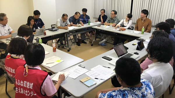 Mifune-town Disaster Support Group Network (Mifune-net), a group of organizations that had been engaged in support activities in Mifune-town, was established, and organizations from various regions participated in the meetings ©BULBY